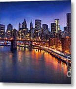 Manhattan At Dawn - Brooklyn Bridge Metal Print
