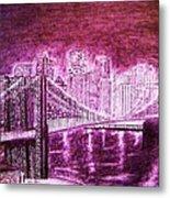 Manhattan At Night Enhanced Metal Print