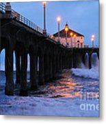 Manhattan Beach Pier Crashing Surf Metal Print