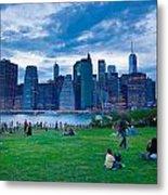Manhattan Blue And Green Metal Print