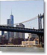 Manhattan Bridge And One Wtc Metal Print