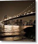 Manhattan Bridge At Night II Metal Print
