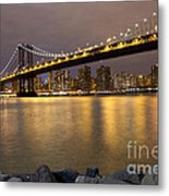 Manhattan Bridge Lights  Metal Print