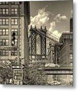 Manhattan Bridge Peeking Through Metal Print