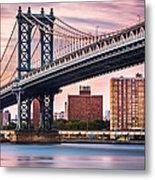 Manhattan Bridge Under A Purple Sunset Metal Print
