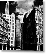 Manhattan Highlights B W Metal Print