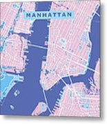 Manhattan Map Graphic Metal Print