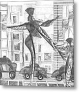 Manhattan Mother Hailing Cab With Daughter Metal Print