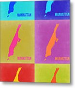 Manhattan Pop Art Map 3 Metal Print
