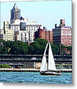 Manhattan - Sailboat Against Manhatten Skyline Metal Print