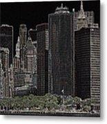 Manhattan Skyline Abstract Metal Print