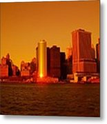 Manhattan Skyline At Sunset Metal Print