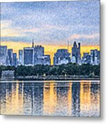 Manhattan Skyline From Central Park Reservoir Nyc Usa Metal Print