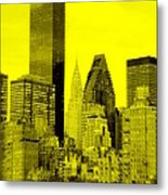 Manhattan Skyline In Yellow Metal Print