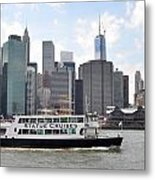 Manhattan Skyline With Boat Metal Print