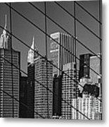 Manhattan Through The Brooklyn Bridge Metal Print