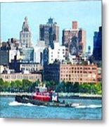 Manhattan - Tugboat Against Manhattan Skyline Metal Print