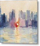 Manhattanhenge New York Skyline Painting Metal Print