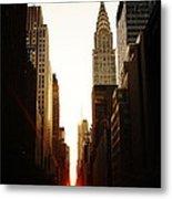 Manhattanhenge Sunset And The Chrysler Building  Metal Print