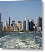 Manhatten Skyline From The Staten Island Ferry Metal Print