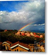 Spanish Landscape Rainbow And Ocean View Metal Print