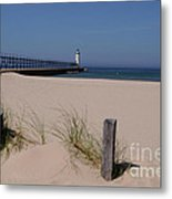 Manistee Harbor Lighthouse From Beach Metal Print