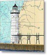 Manistee N Pierhead Lighthouse Mi Nautical Chart Map Art Metal Print