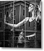Mannequin In Storefront Shop Window In Black And White Metal Print