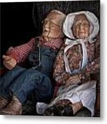 Mannequin Old Couple In Shop Window Display Color Photo Metal Print