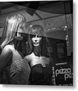Mannequins In Storefront Window Display With Pizza Sign Metal Print