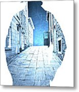Man's Profile Silhouette With Old City Streets Metal Print