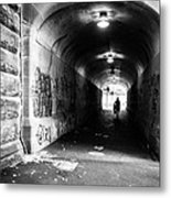 Man's Silhouette In Urban Tunnel Black And White Metal Print