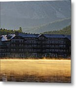 Many Glacier Hotel Sunrise Panorama Metal Print