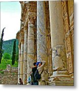 Many Photographers At Library Of Celsus-ephesus Metal Print