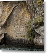 Maori Rock Carving Metal Print