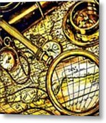 Map And Compass Metal Print