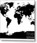 Map In Black And White Metal Print