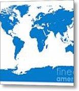 Map In Blue Metal Print