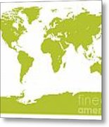 Map In Chartreuse Green Metal Print
