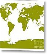 Map In Olive Green Metal Print