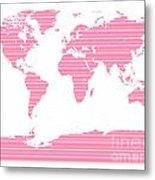Map In Pink Stripes Metal Print