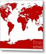 Map In Red Metal Print