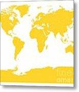 Map In Yellow Metal Print