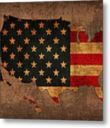 Map Of America United States Usa With Flag Art On Distressed Worn Canvas Metal Print