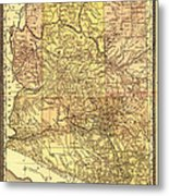 Map Of Arizona 1883 Metal Print