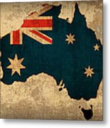 Map Of Australia With Flag Art On Distressed Worn Canvas Metal Print