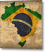Map Of Brazil With Flag Art On Distressed Worn Canvas Metal Print