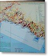 Map Of Cinque Terre Metal Print