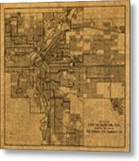 Map Of Denver Colorado City Street Railroad Schematic Cartography Circa 1903 On Worn Canvas Metal Print