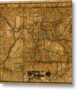 Map Of Denver Rio Grande Railroad System Including New Mexico Circa 1889 Metal Print